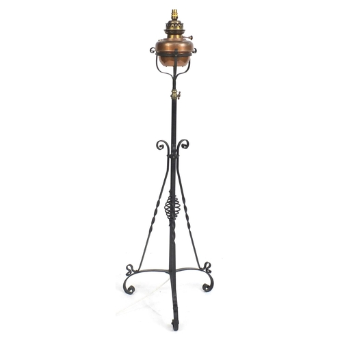14 - Victorian wrought iron adjustable standard lamp, 150cm high...