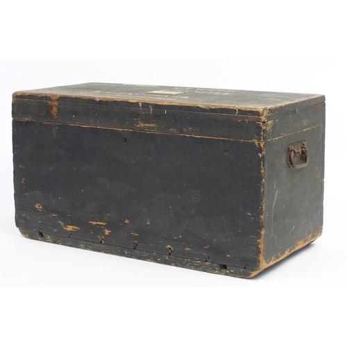 24 - Painted pine carpenters chest, 44cm H x 87cm W x 40cm D...