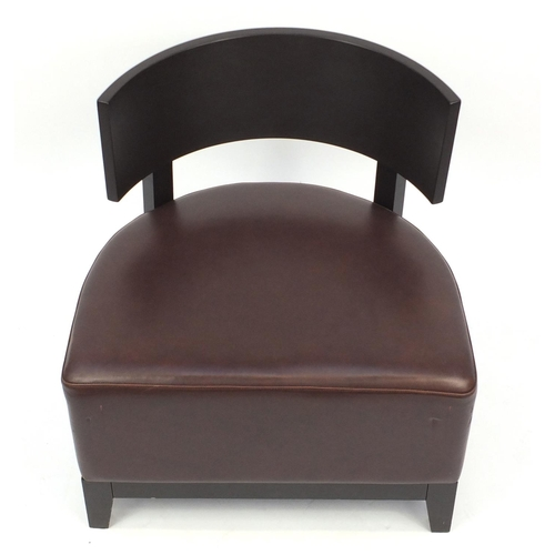 28 - Contemporary RHA reception chair with brown leather seat, 74cm high...