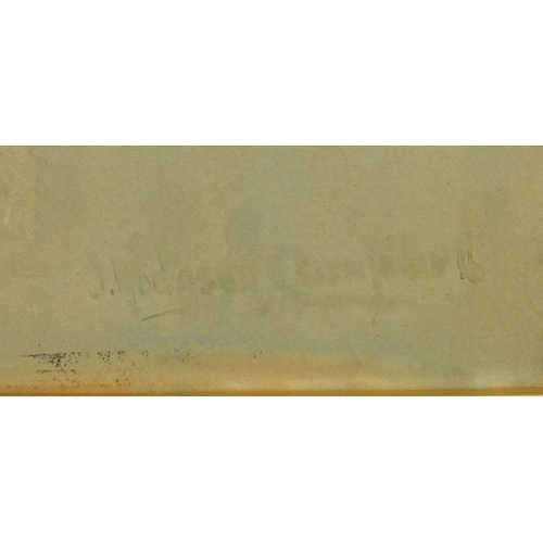 37 - John Hodgson Campbell - Millpoint 1895, watercolour, inscribed verso, mounted and framed, 54cm x 39c...