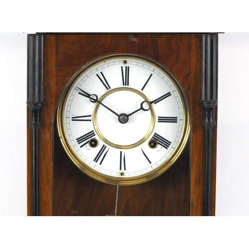 23 - Vienna walnut and ebonised regulator wall clock with enamelled dial and Roman numerals, 85cm high...
