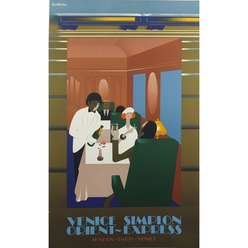 35 - French Venice Simplon Orient-Express travel lithograph poster, designed by Fix-Masseau, printed 1992...
