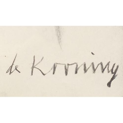 36 - After Willem De Kooning - Portrait of a cubist figure, charcoal, mounted and framed, 34cm x 23cm...
