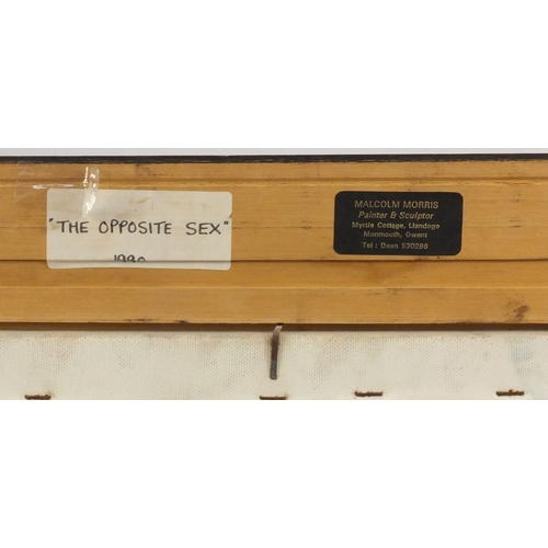 34 - Malcolm Morris - The opposite sex, oil on canvas, inscribed label verso, mounted and framed, 121cm x...