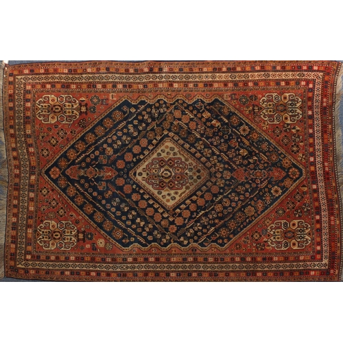 2021 - Rectangular Persian Kashgan rug, having and all over stylised design, 214cm x 138cm...