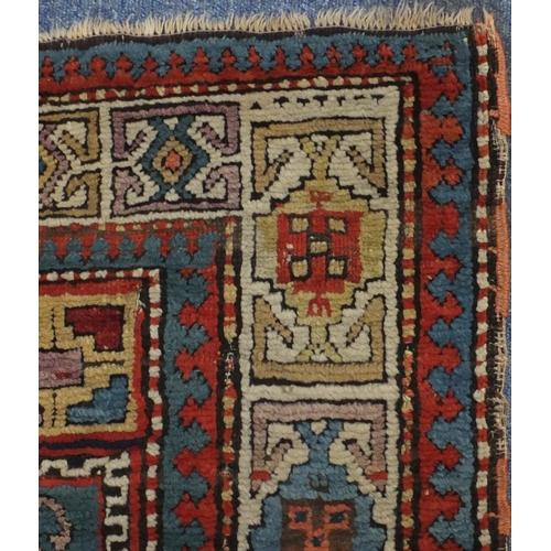2038 - 19th century rectangular Caucasian carpet runner, 263cm x 105cm...