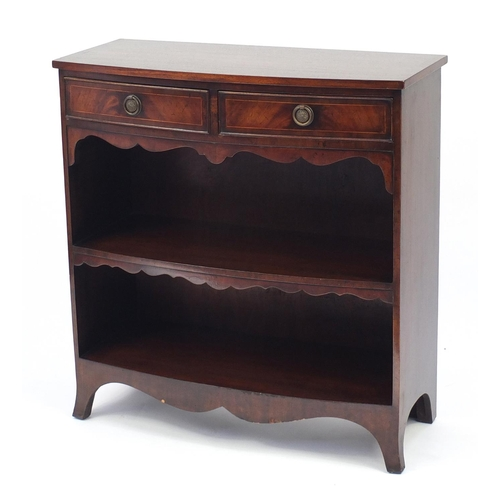 18 - Inlaid mahogany bow front open bookcase with two frieze drawers, 88cm H x 84cm W x 37cm D...