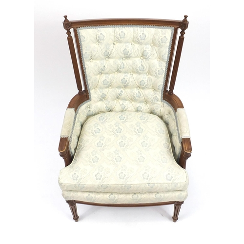 2025 - American walnut framed button back chair with cushion seat, with light blue upholstery...