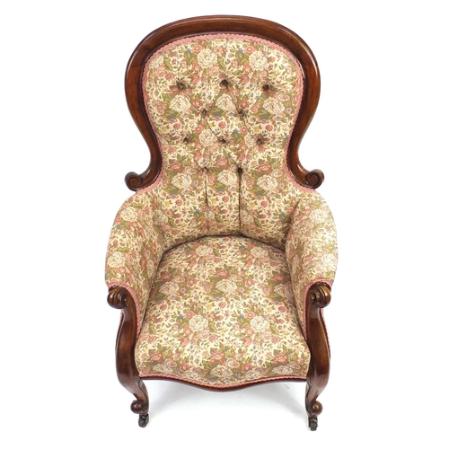 2008 - Victorian mahogany framed spoon back fireside chair, with pink floral upholstery...