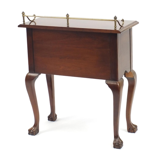2034 - Walnut side table with brass gallery and two frieze drawers on cabriole legs, 72cm H x 66cm W x 32cm...