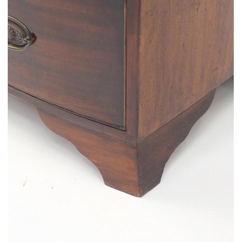 2031 - Georgian mahogany bow front four drawer chest with bracket feet, 99cm H x 91cm W x 55cm D...
