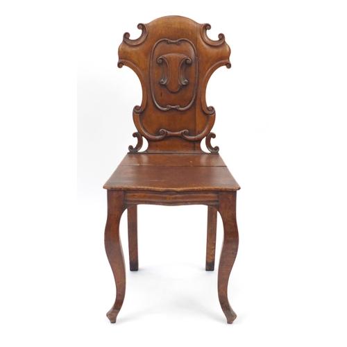 27 - Victorian oak shield back occasional chair, 88cm high...