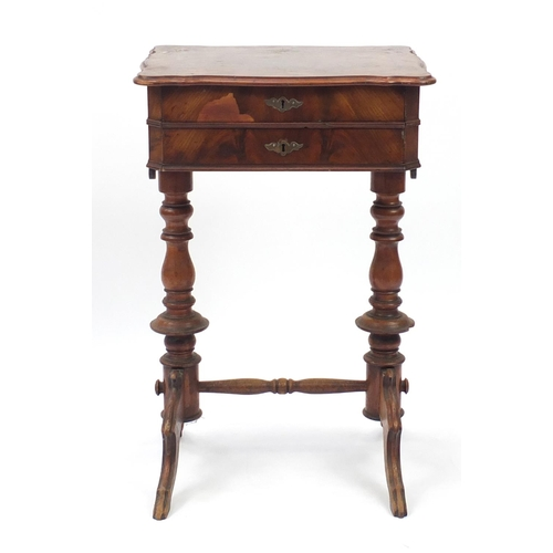 10 - Victorian walnut quarter veneered sewing table with fitted interior, 77cm H x 49cm W x 42cm D...