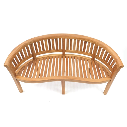 2045 - Curved teak garden bench with slatted back and seat, 160cm wide...