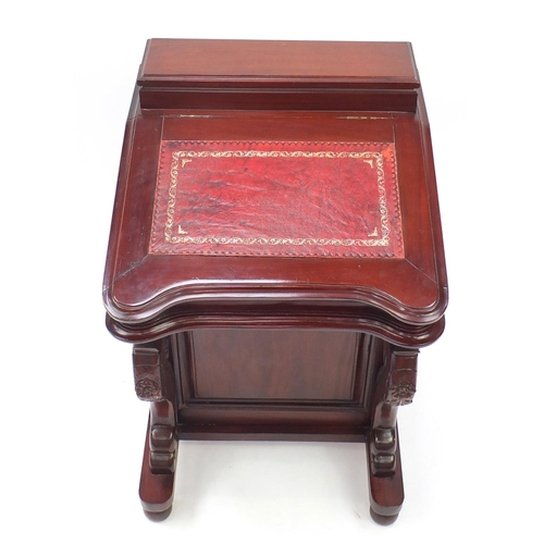 2035 - Mahogany davenport with tooled leather inset, fitted interior and four drawers, 88cm H x 56cm W x 60...