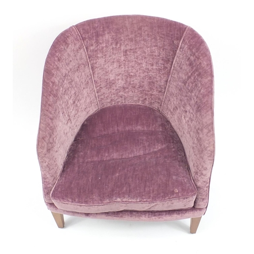 2040 - Contemporary mahogany framed tub chair with purple upholstery raised on square tapering feet, 78cm h...