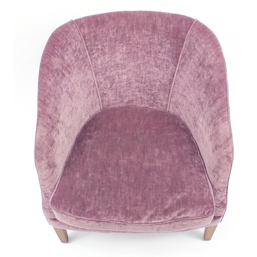 2041 - Contemporary mahogany framed tub chair with purple upholstery raised on square tapering feet, 78cm h...