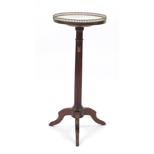 3 - Mahogany telescopic wine table with brass gallery and marble top, 78cm high x 33cm in diameter...