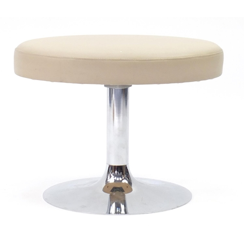 44 - Contemporary cream leather stool with chrome base, 40cm high...