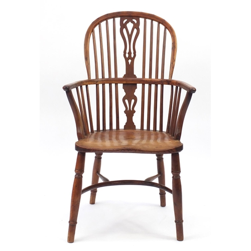 2016 - High back elm Windsor chair with crinoline stretcher, 101cm high...