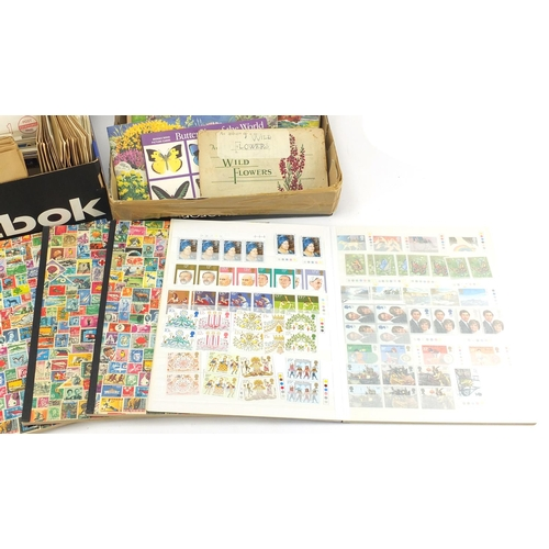 637 - World stamps, first day covers and cigarette cards, some arranged in albums...