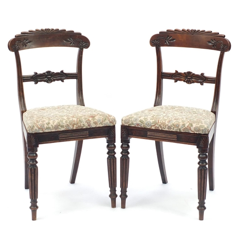 30 - Pair of Victorian carved mahogany occasional chairs with fluted legs, 86cm high...