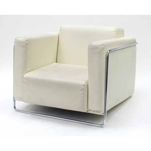 2020 - Contemporary cream faux leather and chrome framed armchair, 71cm H x 90cm W x 85cm D...