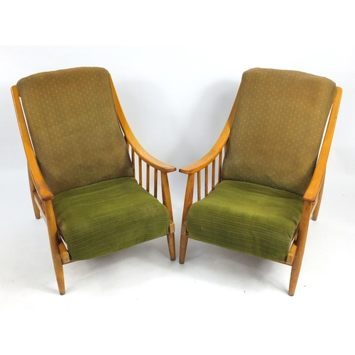 25 - Pair of vintage light wood framed armchairs with green upholstery, 90cm high...