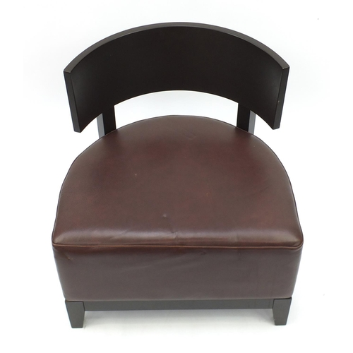 48 - Contemporary RHA reception chair with brown leather seat, 73cm high...