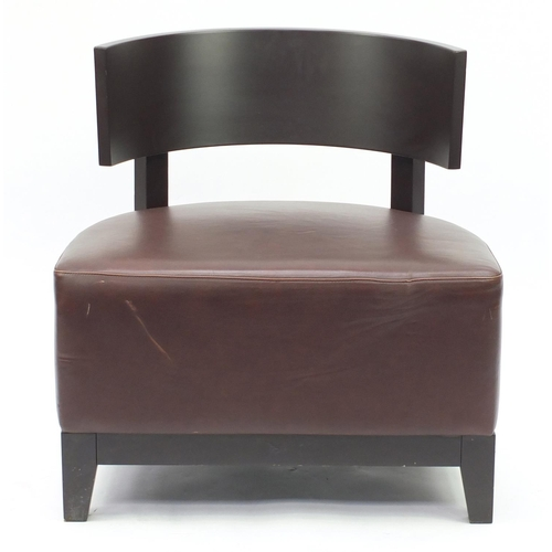 49 - Contemporary RHA reception chair with brown leather seat, 73cm high...