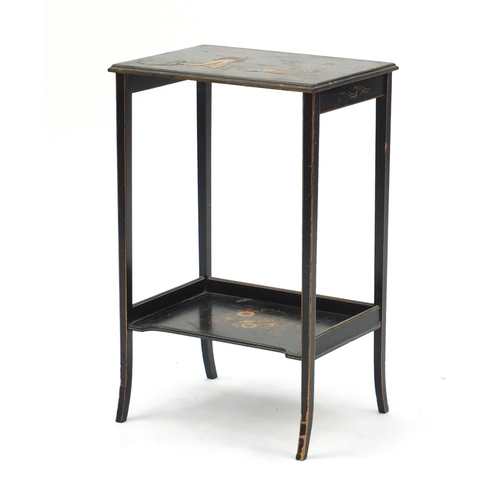 2057 - Chinese black lacquered side table, hand painted and gilded in the chinoiserie manner, 60.5cm H x 38...