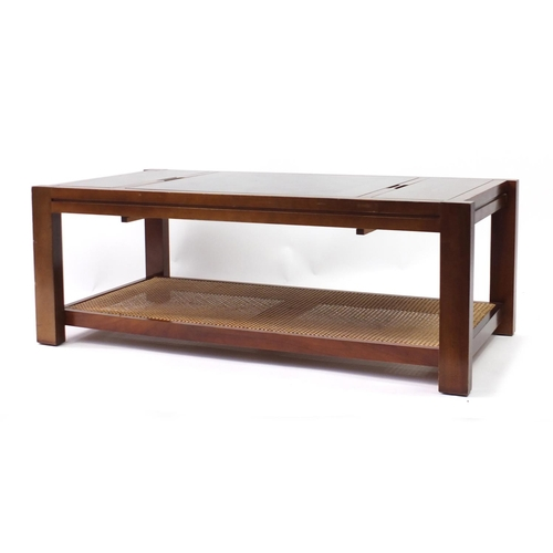2037 - Mahogany games coffee table with glass top and Bergère under tier, 44cm H x 120cm W x 60cm D...