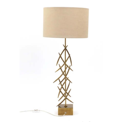 2029 - Contemporary gilt metal designer table lamp with shade, 86cm high...