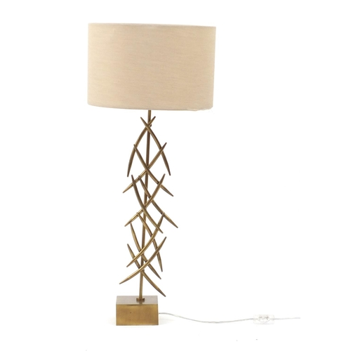 2030 - Contemporary gilt metal designer table lamp with shade, 86cm high...