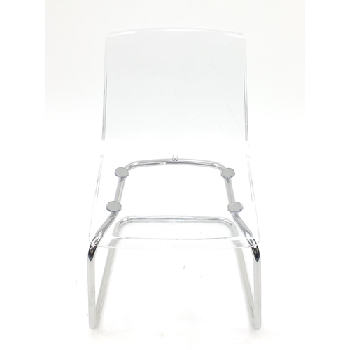 2054 - Contemporary perspex and chrome tobias chair, 83cm high...