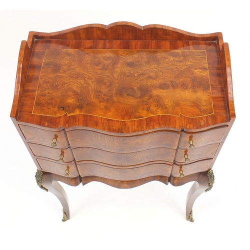 2013 - Italian style serpentine fronted side cabinet with shaped gallery, above three drawers on cabriole l...
