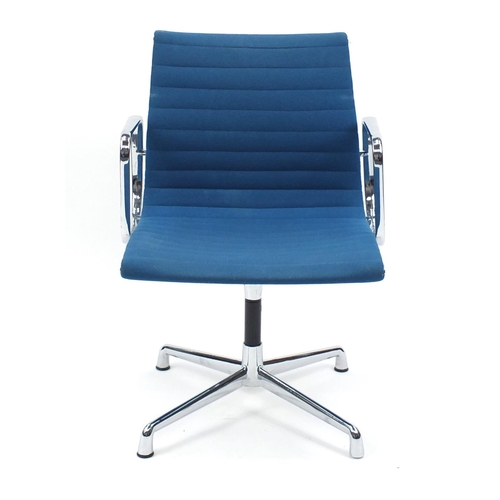 2033 - Charles and Ray Eames EA107 design desk chair with turquoise upholstery, 82cm high...