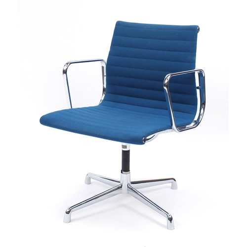 2008 - Charles and Ray Eames EA107 design desk chair with turquoise upholstery, 82cm high...