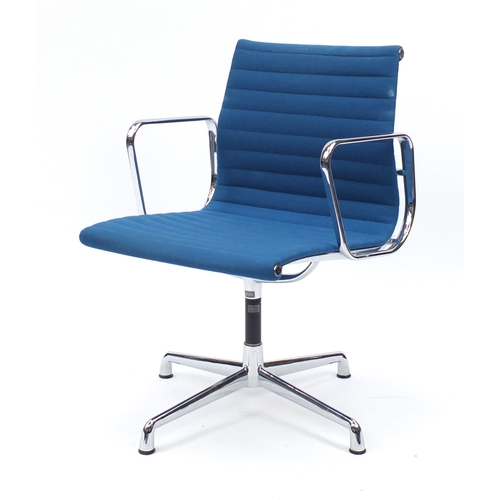 2007 - Charles and Ray Eames EA107 design desk chair with turquoise upholstery, 82cm high...