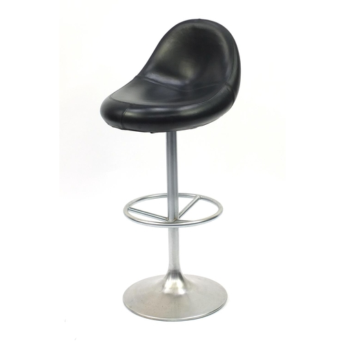 2029 - Venus black leather and chrome bar stool designed by Borje Johanson, 104cm high...