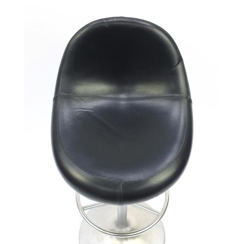2030 - Venus black leather and chrome bar stool designed by Borje Johanson, 104cm high...