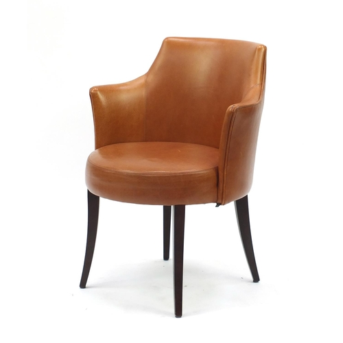 2042 - Contemporary Morgan tan leather chair on out swept tapering legs, 82cm high...