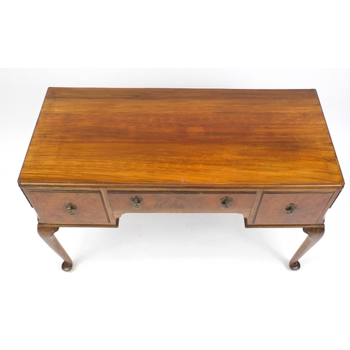 14 - Walnut side table with three drawers on cabriole legs, 79cm HX 113cm W x 50cm D...