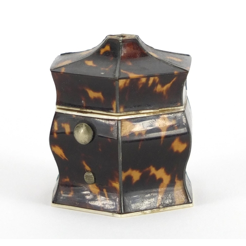 25 - Georgian tortoiseshell and ivory hexagonal jewel box, 4cm high...