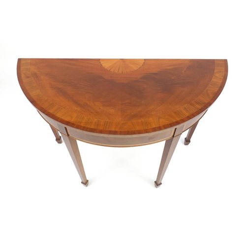24 - Edwardian inlaid mahogany demi lune side table, raised on square tapering legs, 81.5cmH x 113cm W x ...