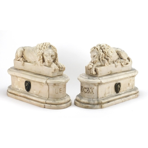 1 - Pair of Italian Grand Tour marble carvings of lions, The Sleeping and The Vigilant, each 29cm high x...