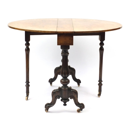 2015 - Good Victorian burr walnut Sutherland table, the oval top with quarter veneer on fluted legs, 73cm H...