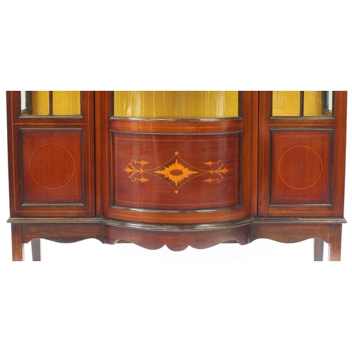 2046 - Edwardian inlaid mahogany bow front china cabinet, 172cm H x 113cm W x 47cm D...