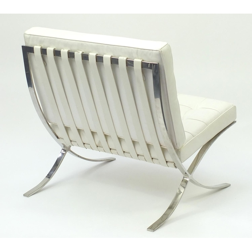2026 - Chrome Barcelona chair, designed by Ludwig Mies van der Rohe and Lilly Reich, 74cm high...