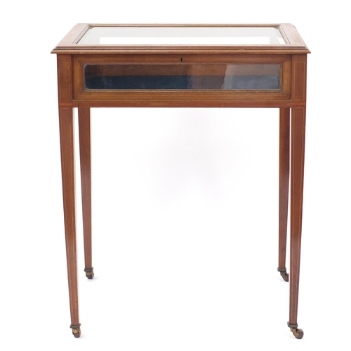 2041 - Edwardian inlaid mahogany bijouterie table on tapering legs, 72cm H x 60cm W x 42cm D...